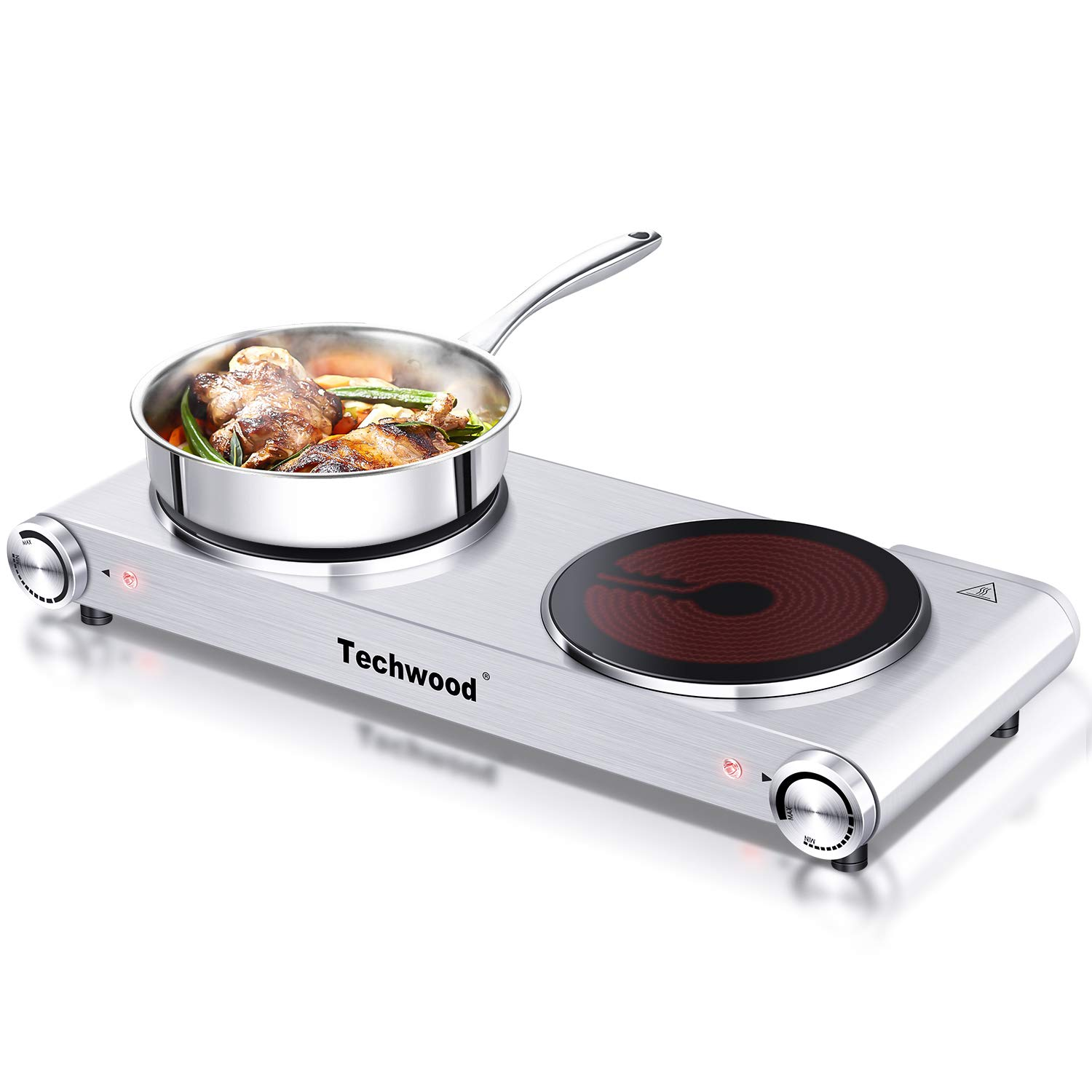 Techwood 1800 Watts Countertop Burner, Infrared Ceramic Double Cooktop (900W & 900W), Portable Electric Hot Plate, Stainless Steel, ES-3201C