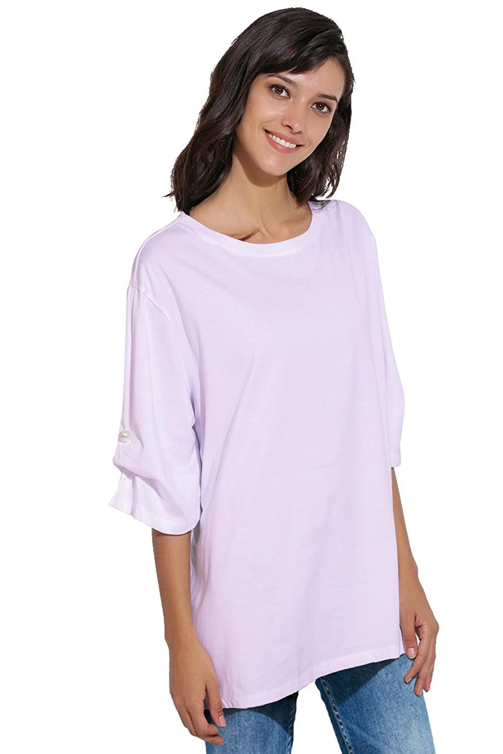 e23b946dade4 APRLL Women Loose T Shirts 3 4 Sleeve Boyfriend Style Casual Tops Plus Size  at Amazon Women s Clothing store