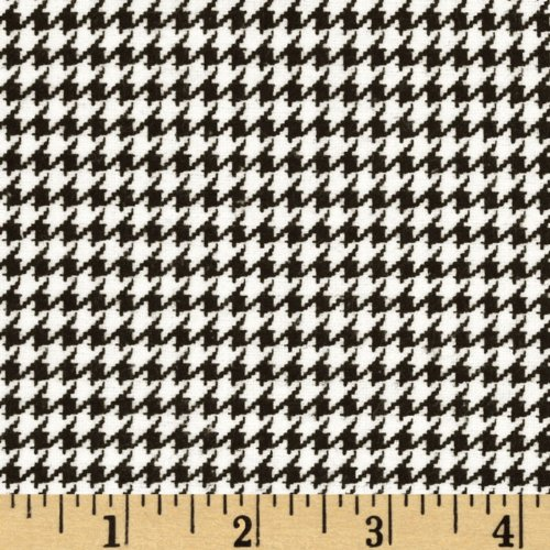 A.E. Nathan Comfy Flannel Houndstooth Black Fabric by The Yard,