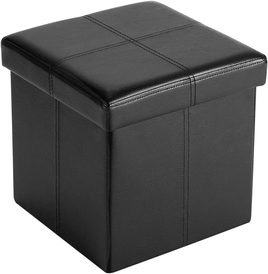 FHE Group Folding Storage Ottoman, 12 by 12 by 12 Inches, Black