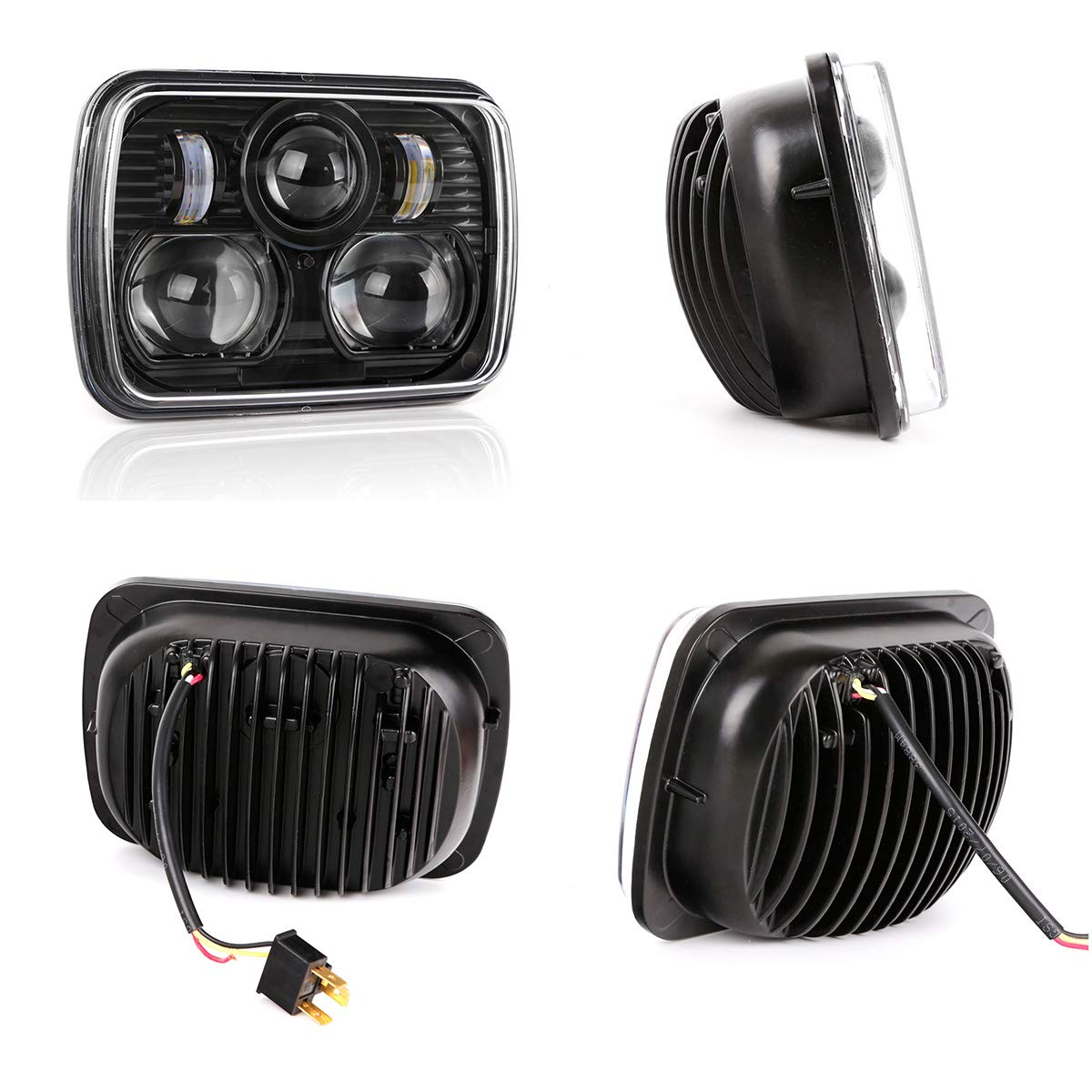 Black 5 X 7 Led Headlight Replacement For Jeep 1996 Cherokee Country Wiring Lights Xj Trucks Automotive