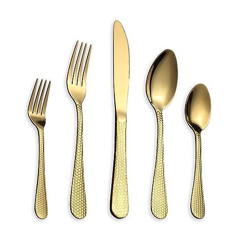 Berglander 30 Piezas Juego de Cubiertos de Martillo de Acero Inoxidable en Titanio Dorado, Juego de Cubiertos de Oro, Servicio para 6 (Oro brillante)