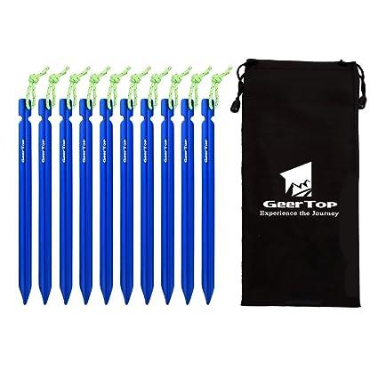 GEERTOP Estacas Piquetas de 10 DE Aluminio de para Tienda de Campa/ña y Cuerdas Reflectantes y Bolsa de Transporte para Tiendas de Campa/ña Camping al Aire Libre
