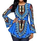 Spbamboo Women Tops Asymmetric Hem Long Sleeve Printed Zipper Closure Blouse