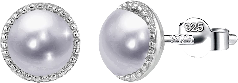 """PAPOLY,Pendientes SWAROVSKI con """"Perla Agua Dulce"""" plata de Ley 925 Mujer con circonitas en dos tallas de 0.33in/8.5mm y 0.25in/6.5mm, Oferta limitada"""