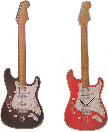Reloj de pared - Reloj con Forma de guitarra en color negro (ckp68-b): Amazon.es: Hogar