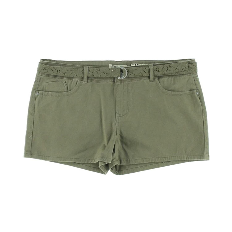 Indigo Rein Womens Juniors Twill Solid Casual Shorts Brown 9