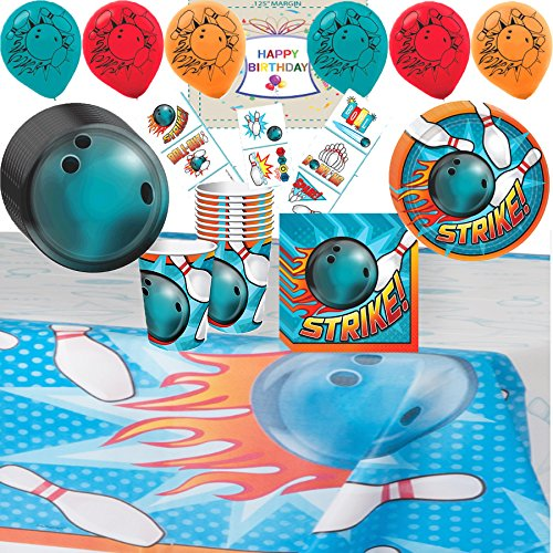 Bowling Birthday Supplies - Variety Assortment Party Pack Bundle of - Cups, Plates, Napkins, Table Cover, Balloons and Birthday Tattoos Bowling Ball Invitations