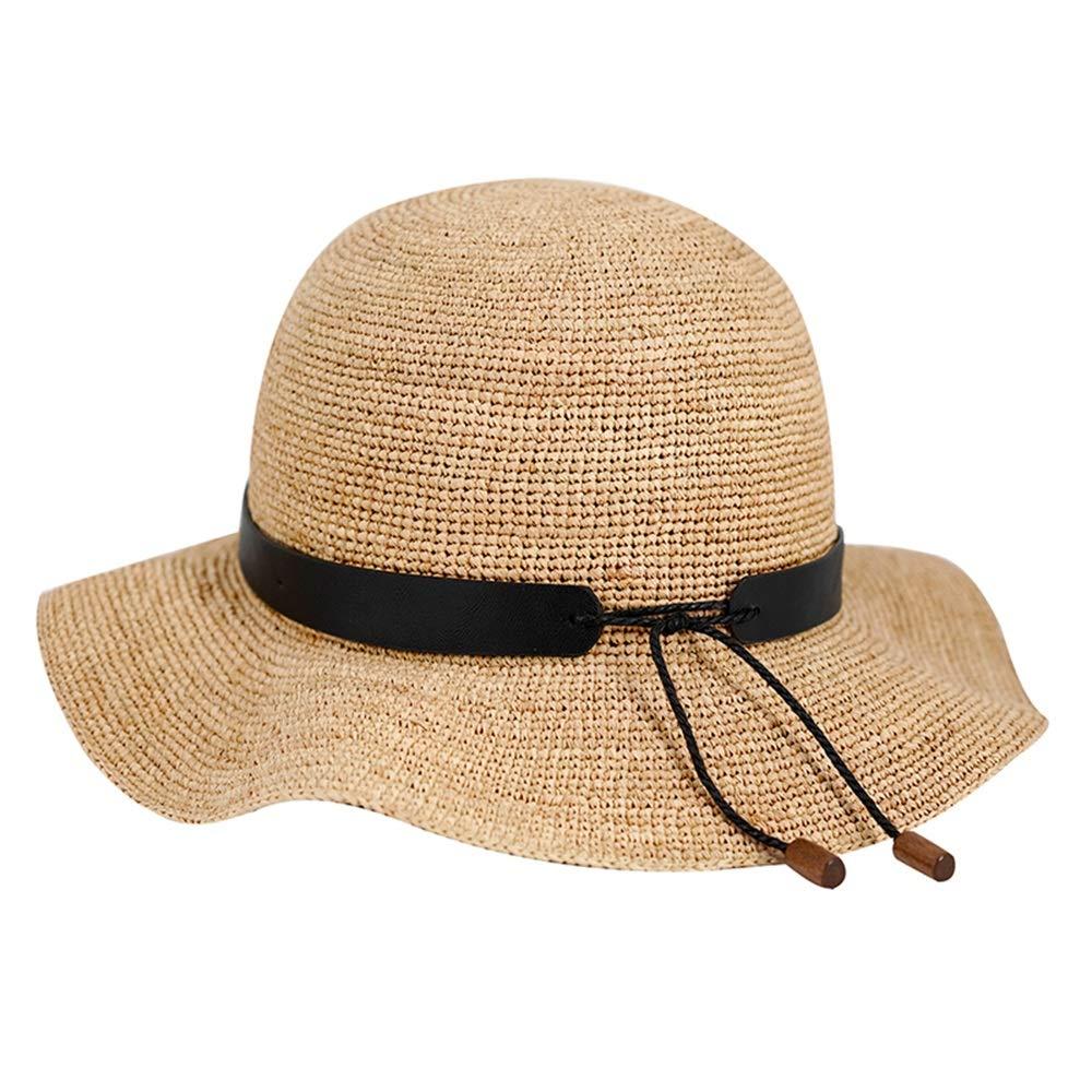 B Sun Hat Female, Summer Big Hat Straw Hat Seaside Sun Hat Folding Beach Hat (color   A)