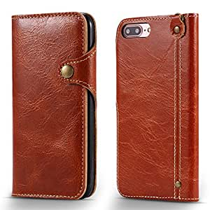 iPhone 7 Plus Case,Airdream Genuine Real Leather Wallet Folio Flip Protector Case Cover(Brown)
