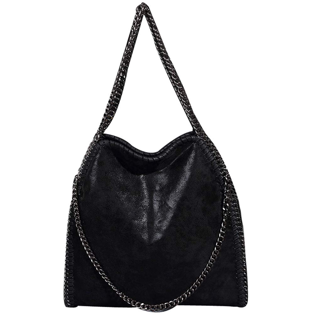 Abuyall Women Chain Paillette Large Casual Tote PU Leather Hobo Shoulder Bag A