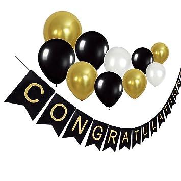 amazon com idoxe congratulations banner black and gold graduation