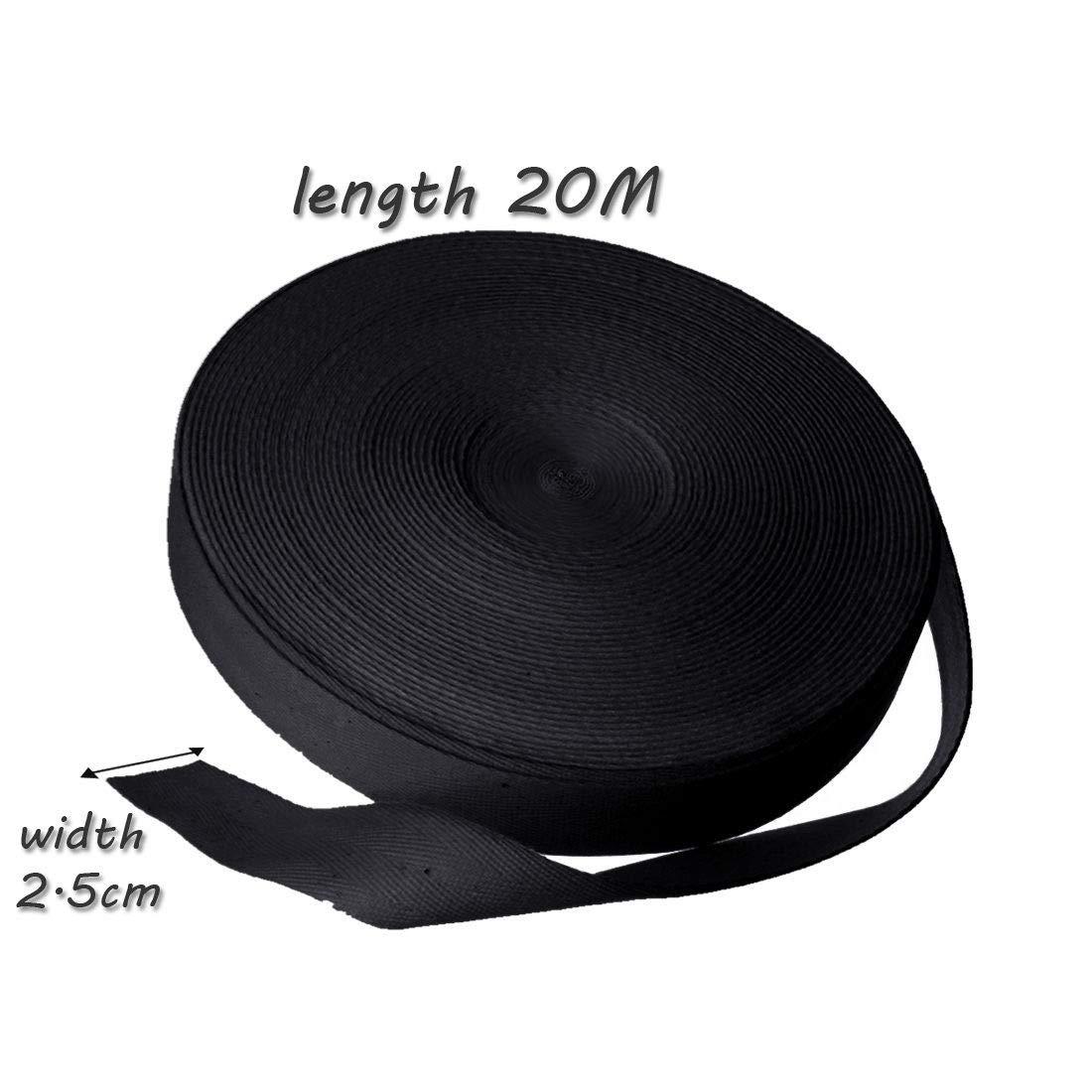 10//20//50 m Rouleau de ruban en coton/-/Serg/é/-/Motifs /à chevrons/-/Couture/ noir /Warehouseshop 25mm Coton 20 Meter