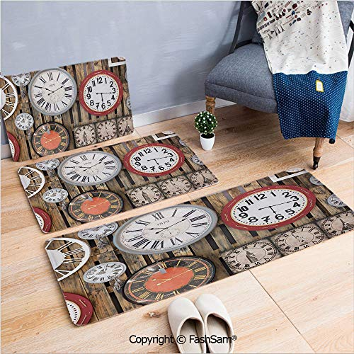 FashSam 3 Piece Non Slip Flannel Door Mat Antique Clocks on The Wall Instruments of Time Vintage Decorative Pattern Indoor Carpet for Bath Kitchen(W15.7xL23.6 by W19.6xL31.5 by W19.6xL59)