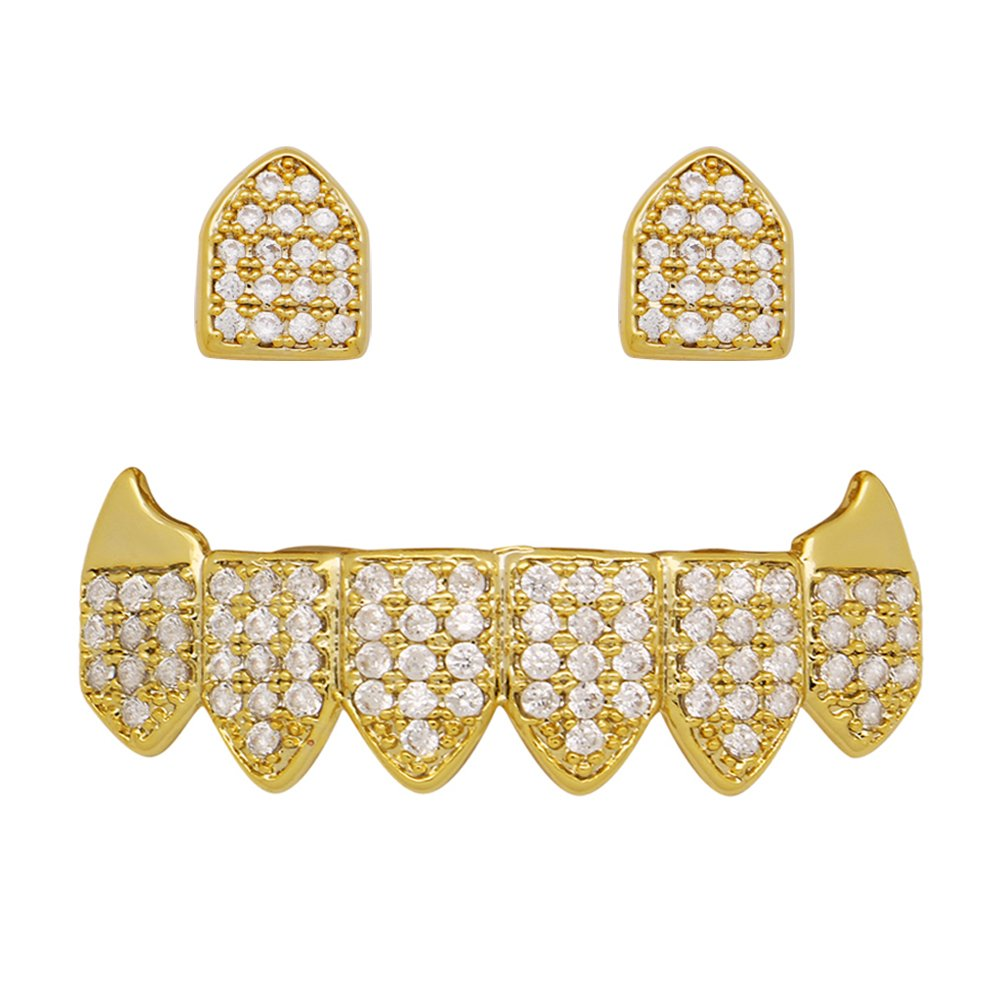 14k Gold Vampire Fangs Grillz 2 pc Single Top and 6 Bottom Teeth Set (Gold)
