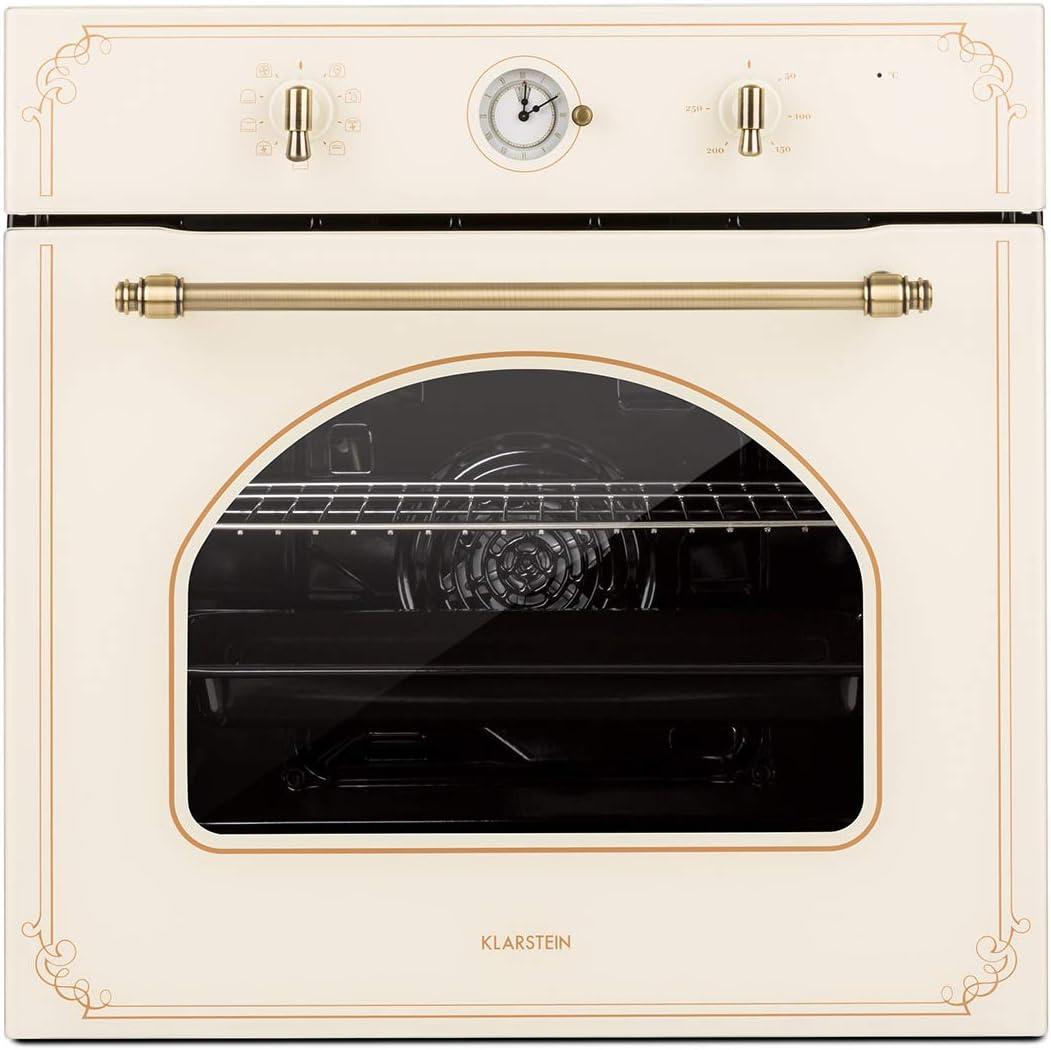 Klarstein Victoria Horno de cocina - Horno eléctrico, Diseño retro, 9 funciones, Autoapagado, 50-250°C, 70 litros, 10 alturas, Fácil de limpiar gracias a su apertura, Iluminación, Marfil
