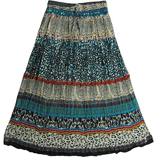 JK Indian Cotton Crinkle Broomstick Bohemian Gypsy Long Skirt #4
