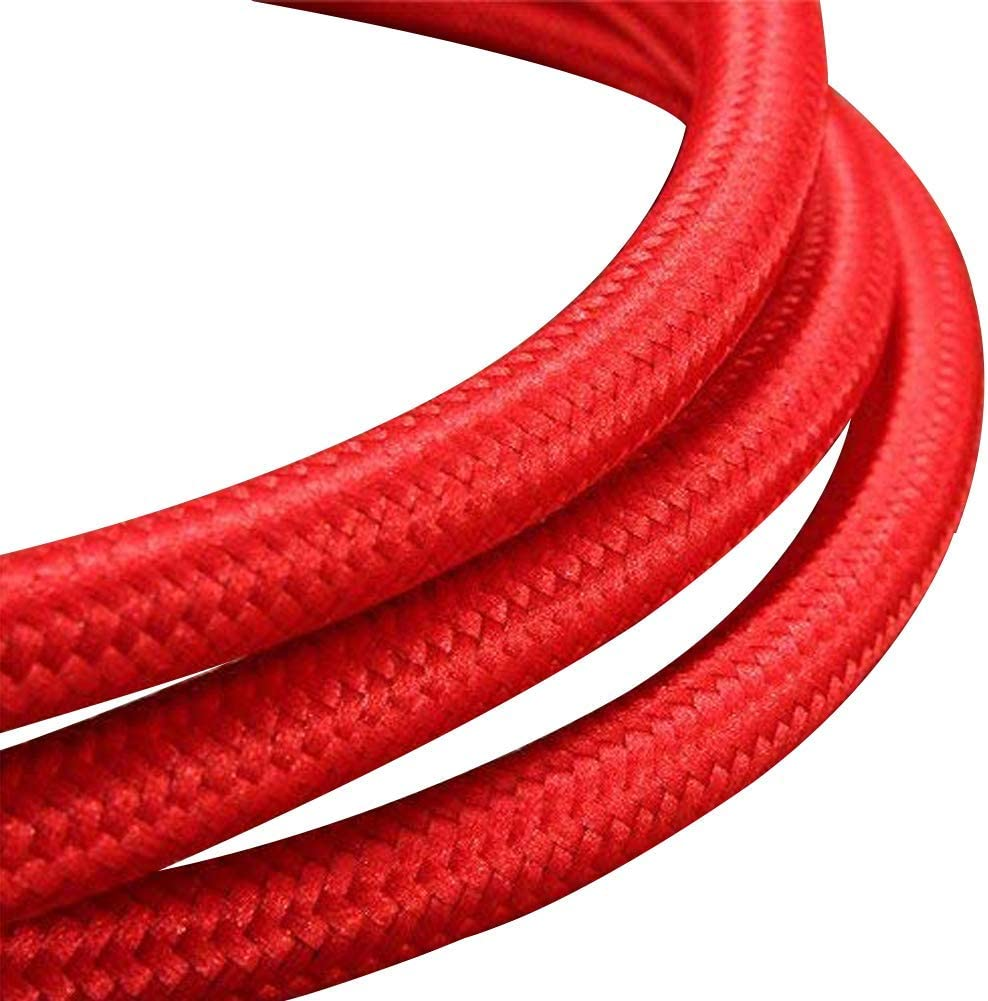 Cable de iluminaci/ón de tela cable flexible retro 2 n/úcleos 5 metros vintage cable el/éctrico rojo