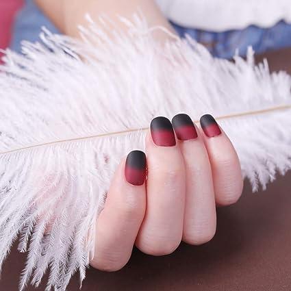 Mobray - Juego de 24 uñas postizas, color negro y rojo
