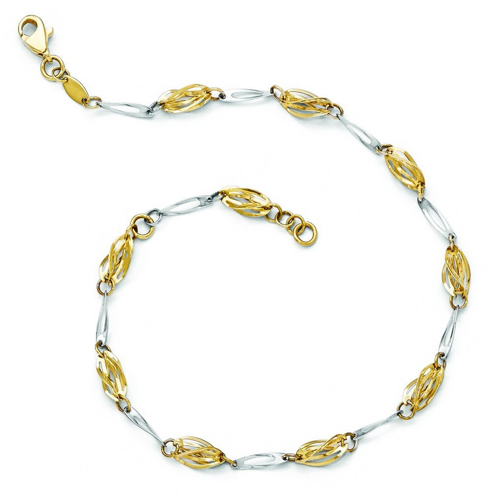 14k Two-Tone Gold Polished Fancy Link Anklet - 10 Inch by JewelryWeb