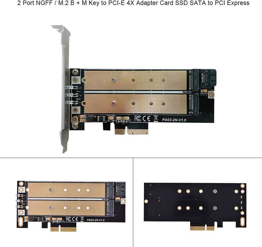 ASHATA M.2 Ngff to Sata Adapter for 2230 2240 2260 2280 22110,2 Port NGFF//M.2 B M Key to PCI-E 4X Adapter Card SSD SATA to PCI Express PCI-E