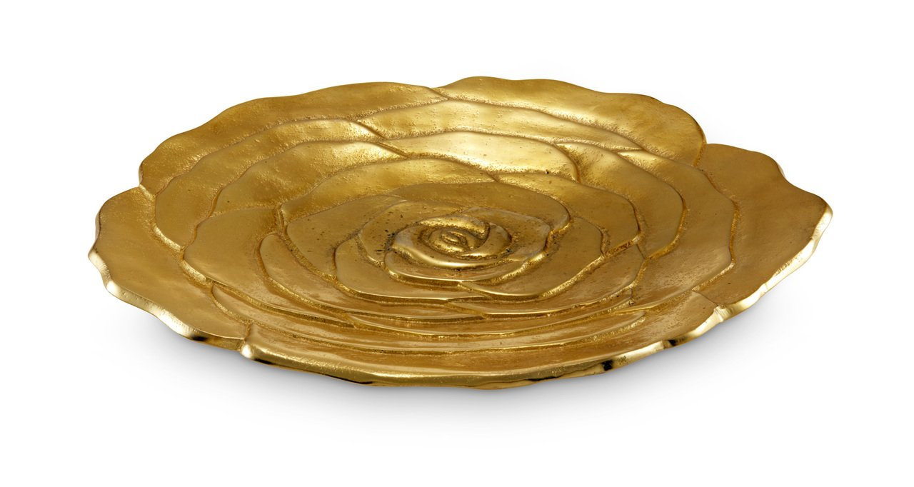 Julia Knight 7190300 Flowers and Leaves Large Platter One Size Gold