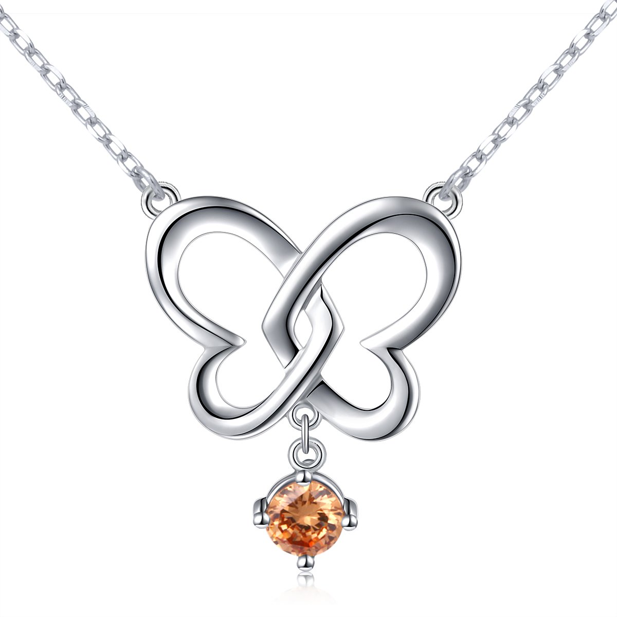 Birthday Gift 925 Sterling Silver Animal Jewelry Butterfly Double Heart Pendant Summer Necklace for Women, 18''