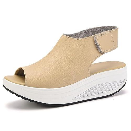 Bdawin Donna Shape-Ups Pelle Comfort Peep Toe Sandali Zeppa Heeled Scarpe  Camminare Piattaforma (
