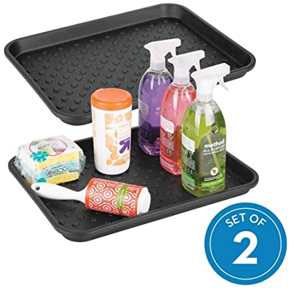 Stupendous Idesign Plastic Under The Under The Sink Drip Protector Tray For Kitchen Cabinet Bathroom Entryways Office Mudroom College Dorm Set Of 2 Black Download Free Architecture Designs Crovemadebymaigaardcom