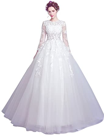 Erosebridal Ball Gown Wedding Dress With Long Sleeve Lace