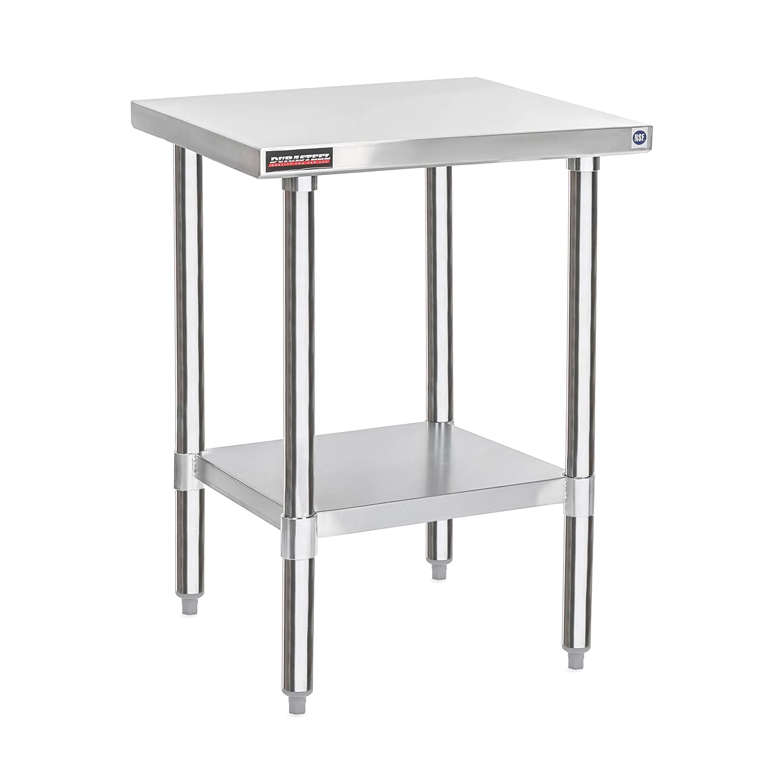 "DuraSteel Stainless Steel Work Table 24"" x 18"" x 34"" Height - Food Prep Commercial Grade Worktable - NSF Certified - Fits for use in Restaurant, Business, Warehouse, Home, Kitchen, Garage"
