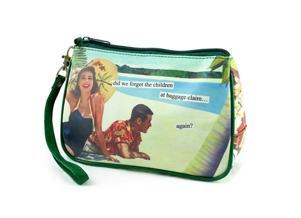 Anne Taintor Matte Vinyl Travel Cosmetic Bag - Did We Forget the Children