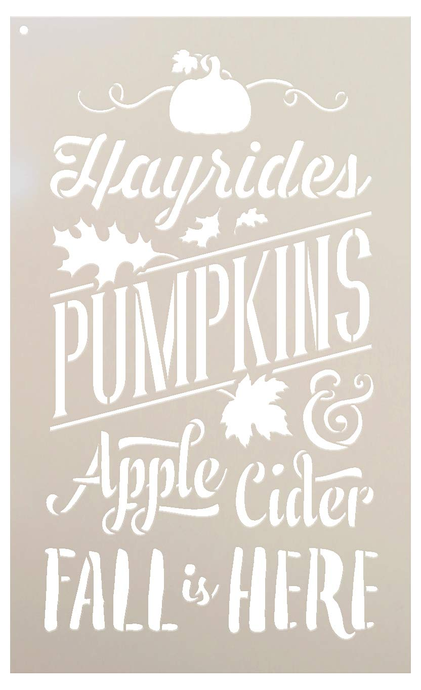 Fall is Here Stencil by StudioR12 | Hayrides | Pumpkins | Apple Cider | Leaves | DIY Autumn Farmhouse Home Decor | Craft & Paint Rustic Wood Signs | Reusable Mylar Template | Select Size (9'' x 14'') by STUDIOR12 STUDIO R12