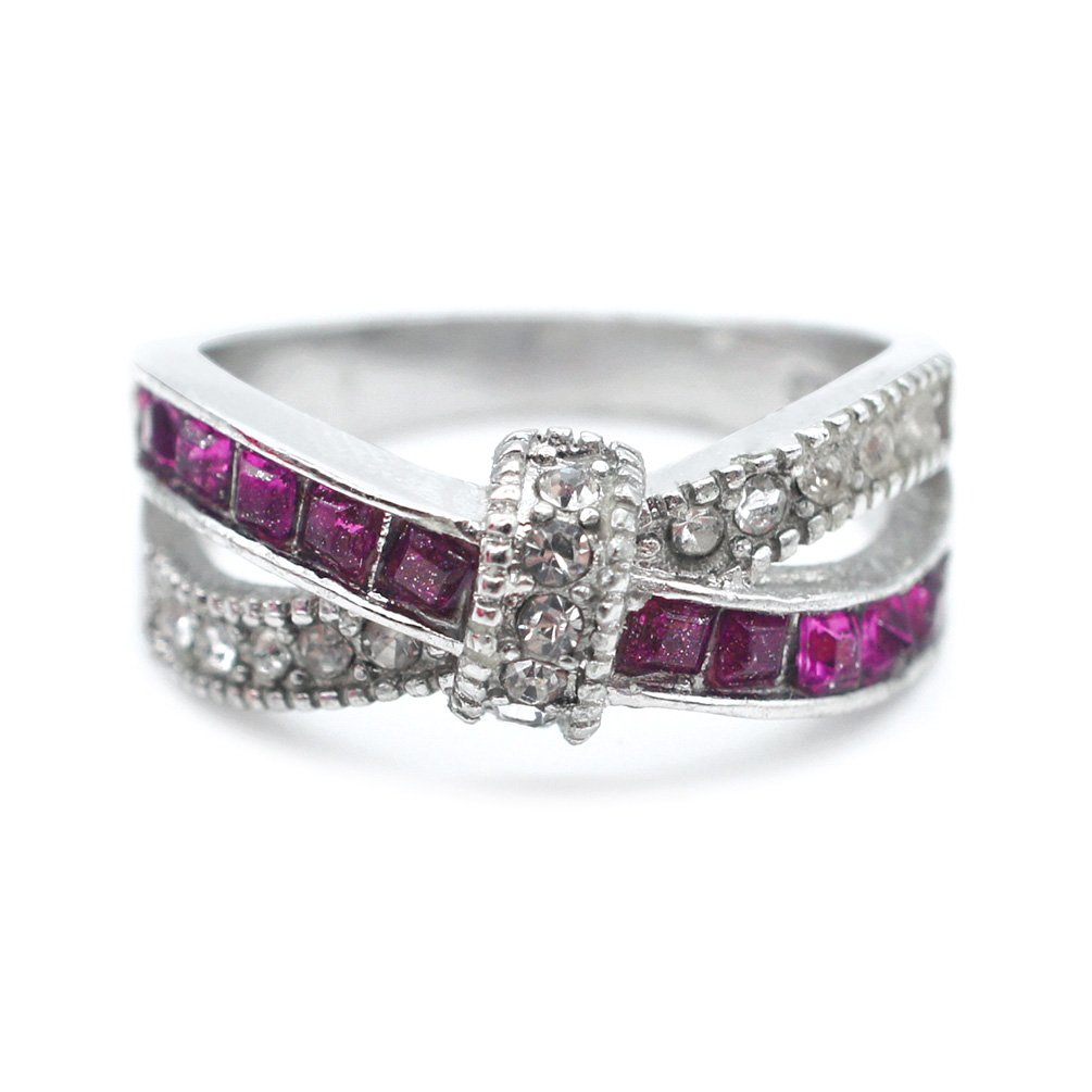 Amesii Women's Fashion 925 Sterling Silver Purple Ring Zircon Wedding Bague Jewelry