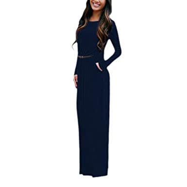Womens Elegant Long Sleeve Cocktail Style Maxi Dress Beach Evening Party Ball Prom Dresses (Small