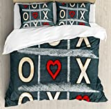 Xo Decor Duvet Cover Set Queen Size by Ambesonne, Vintage Blackboard with Hugs and Kisses Written by Chalk Love Concept, Decorative 3 Piece Bedding Set with 2 Pillow Shams, Blue Grey Red Cream
