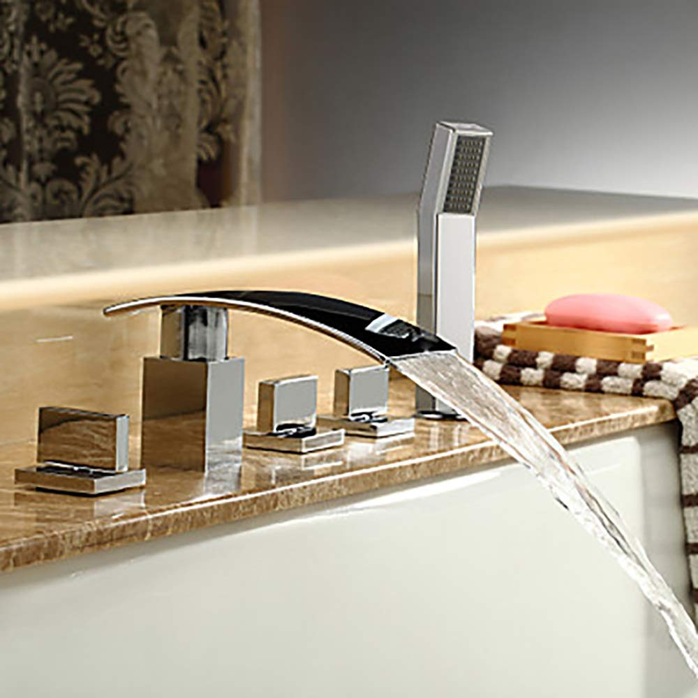Durable Multifunction Bathtub Faucet - Modern Chrome Bathtub Ceramic Valve Bathtub Shower Faucet Faucet/Brass/Three Handles Five Holes practical