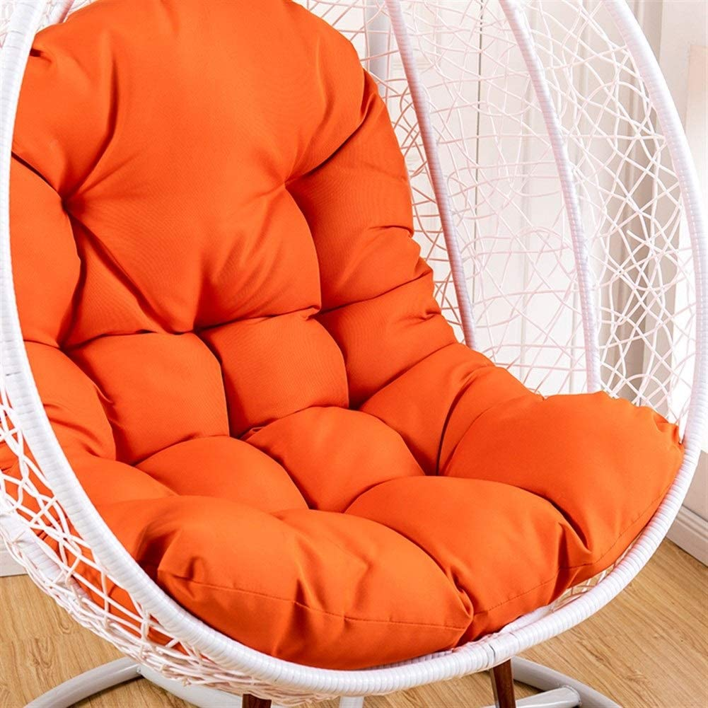 Amazon Com Hanging Basket Chair Cushions Large Seat Cushion Waterproof Hanging Egg Hammock Swing Chair Pads Soft Chair Back Solid Color Color Orange Size 125x95cm 49x37inch Home Kitchen