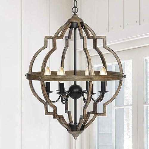 KingSo Pendant Light 6 Light Rustic Metal Chandelier 27.5'' Oil Rubbed Bronze Finish Wood Texture Industrial Ceiling Hanging Light Fixture