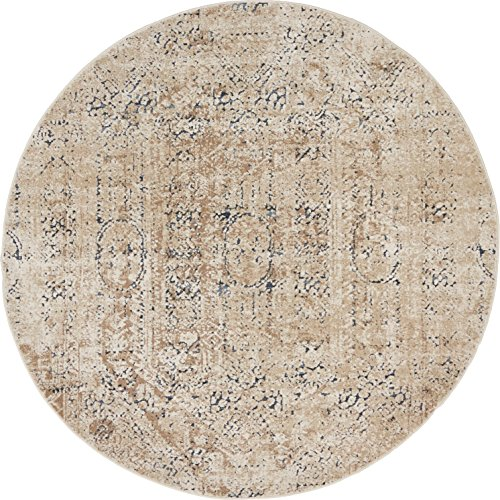 Unique Loom Chateau Collection Distressed Vintage Traditional Textured Beige Round Rug (4' 0 x 4' 0)