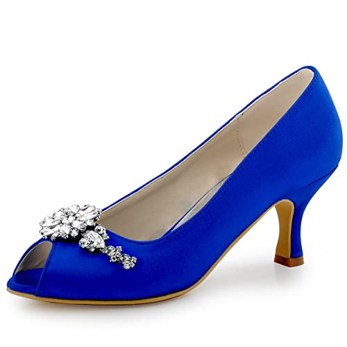 ElegantPark HP1541 Women Pumps Mid Heel Peep Toe Flower Rhinestones Satin Evening Prom Wedding Shoes