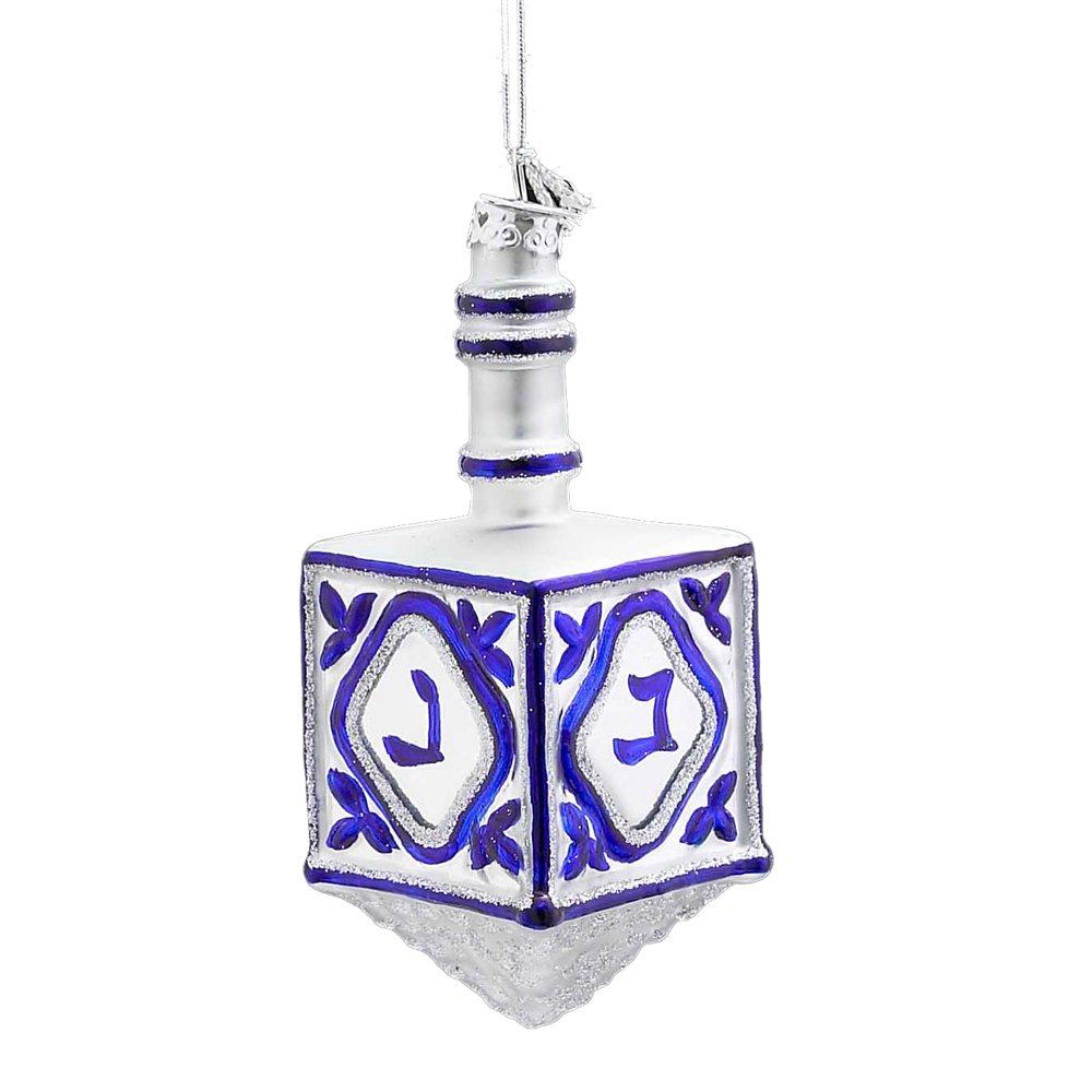 Noble Gems Kurt Adler 4-1/4-Inch Glass Jewish Dreidel Ornament