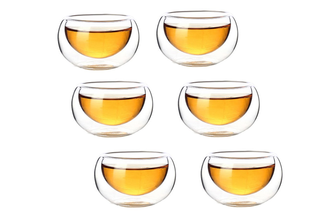 Secret for Longevity 6-Pack Clear Glass Mini Bud Succulent Vase Planter Pot Tealight Votive Candle Holder Double Wall 1 oz Tea Cup Hot Sake Shot Glass