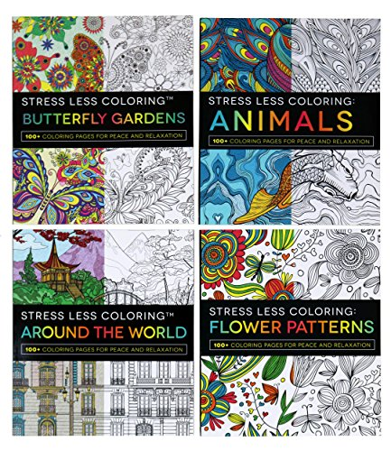 4, 100 Page Adult Coloring Books - Flower Patterns, Butterfly Gardens, Around The World, Animals by Adams Media - Set of 4 Books with 100 Pages Each