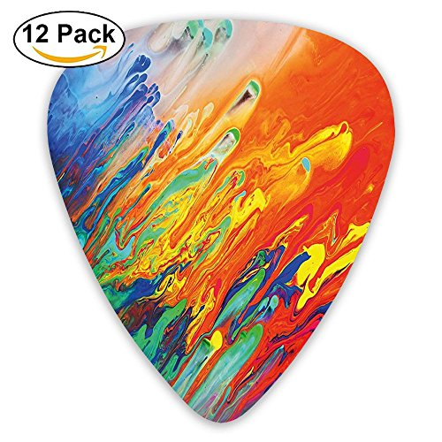 Newfood Ss Active Brushstroked Composition Like Seminal Fluid Motion Guitar Picks 12/Pack Set