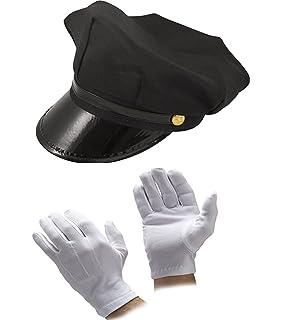 Tie set GLOVES Unisex Chauffeur Limo Limousine Driver 3 Piece Fancy Dress HAT