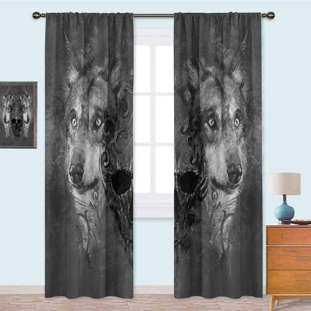 "YUAZHOQI Blackout Curtains Abstract Skull Figure Between Two Canine Animals Wildlife Grunge Tattoo Like Artwork Decor Curtains 52"" x 63"" Grey Black"