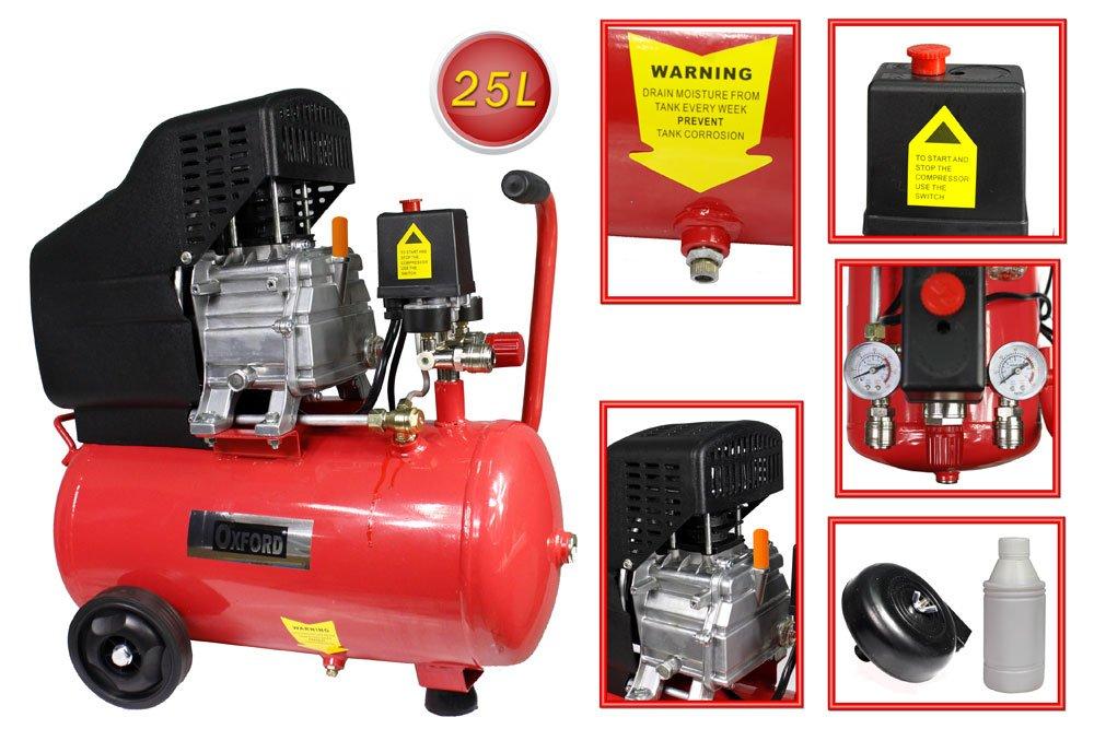 Vetrineinrete® Compressore aria a cilindro serbatoio da 25 litri motore 2 Hp 8 bar con manometro e ruote 25 lt P28