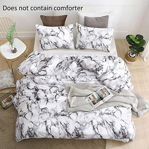 QYsong King Marble Duvet Cover Set (104x90 Inch), 3pc Include 1 Black and White Microfiber Duvet Cover and 2 Pillowcase, Zipper Closure Modern Style Bedding Set for Men and Women