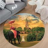 Nalahome Modern Flannel Microfiber Non-Slip Machine Washable Round Area Rug-hants Decor Elephant Dressing With Thai Kingdom Tradition Accessories Pagoda In Ayuthaya area rugs Home Decor-Round 75''